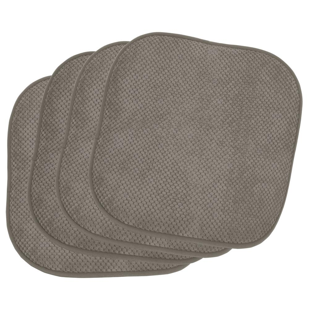 Bon Appetite Charcoal 4-Piece Cushioned Chair Pad Set