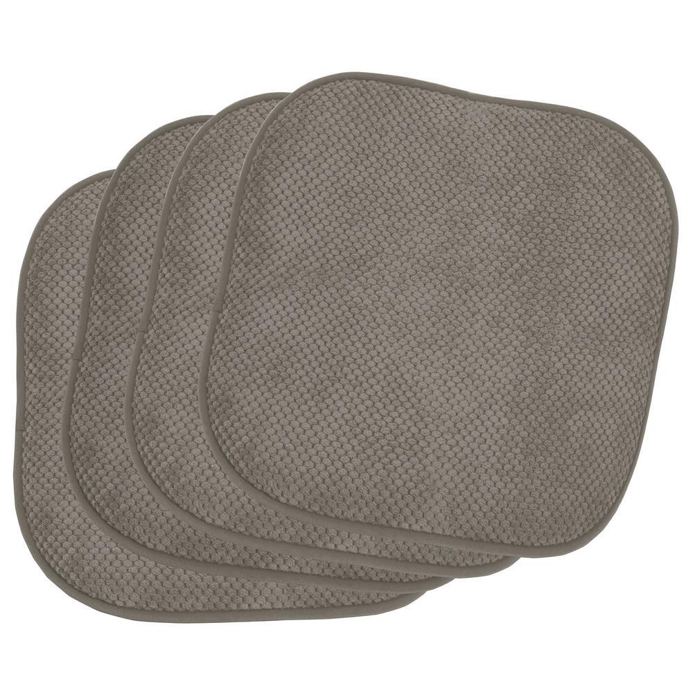 Bon Appetite Charcoal 4-Piece Cushioned Chair Pad Set