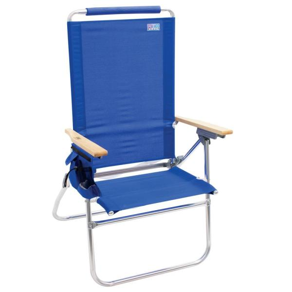 Rio 7 Position Hi Boy Aluminum High Back Beach Chair With Wood Armrests And Storage Sc644 46 1 The Home Depot