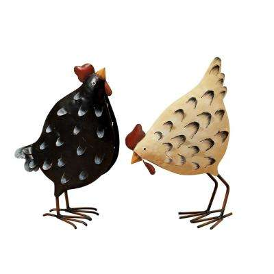 12.5 in. Tall Metal Chicken Figurines (2-Set)