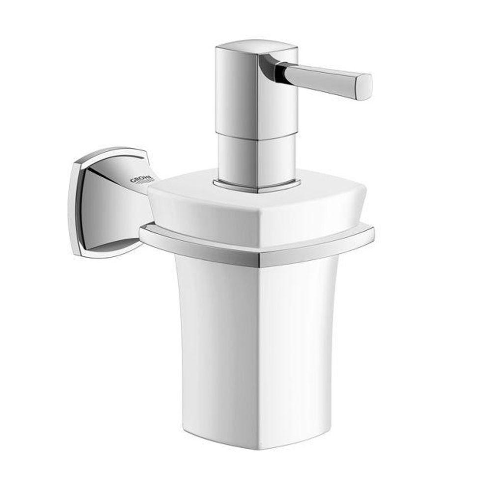 Grandera Wall-Mounted Ceramic Soap Dispenser in StarLight Chrome