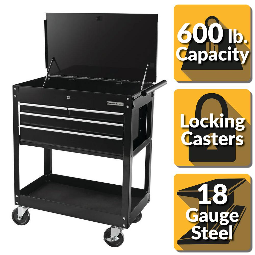 OLYMPIA 30 in. 4-Drawer Roller Cabinet Tool Chest in Black