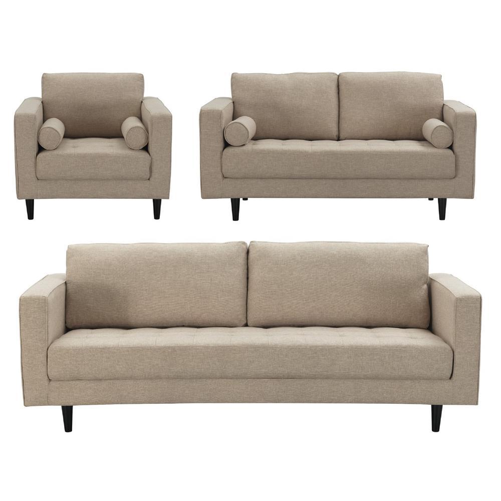 Manhattan Comfort Arthur 3 Piece Tan Brown Tweed Sofa Loveseat And