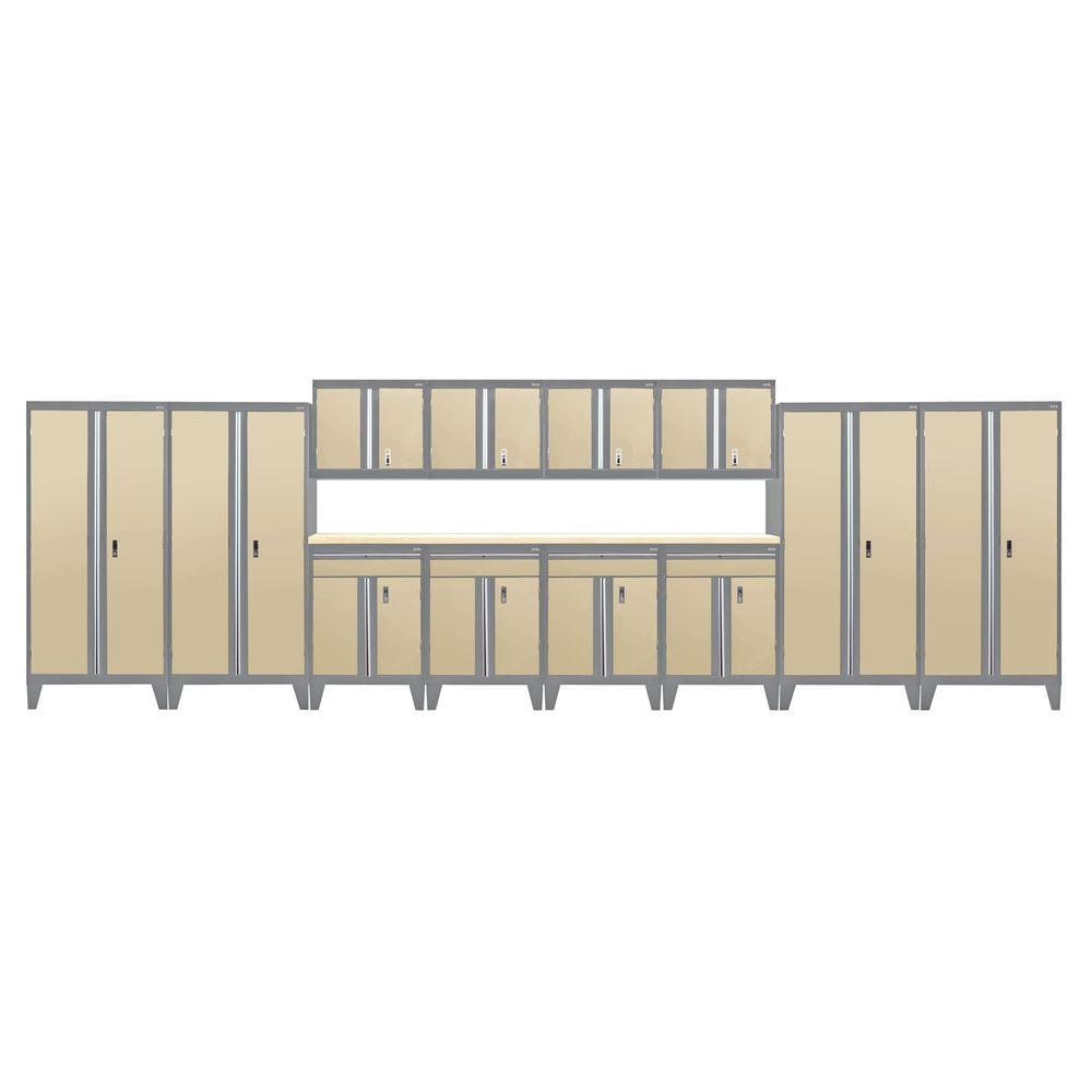 79 in. H x 264 in. W x 18 in. D Modular Garage Welded Steel Cabinet Set in Charcoal/Tropic Sand (14-Piece)