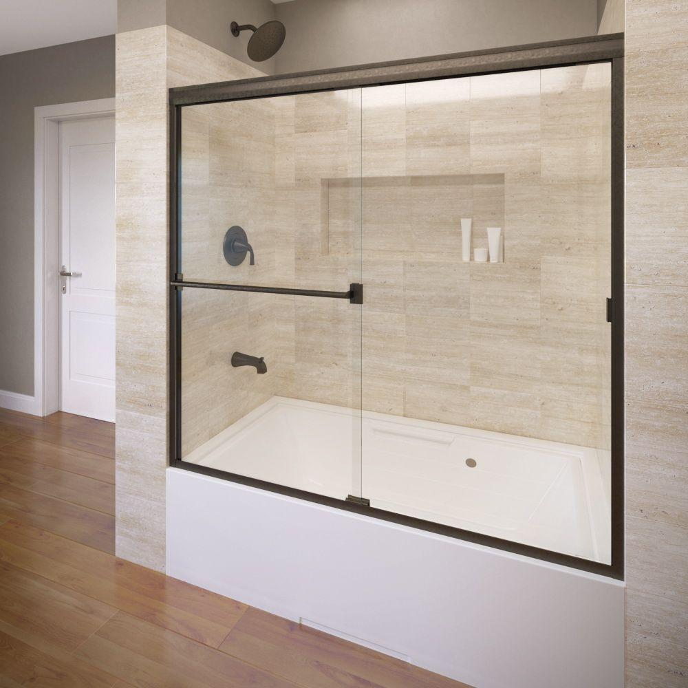 Basco Classic 60 In X 57 In Clear Semi Frameless Sliding Tub Door In Oil Rubbed Bronze Clch05a6057clor The Home Depot