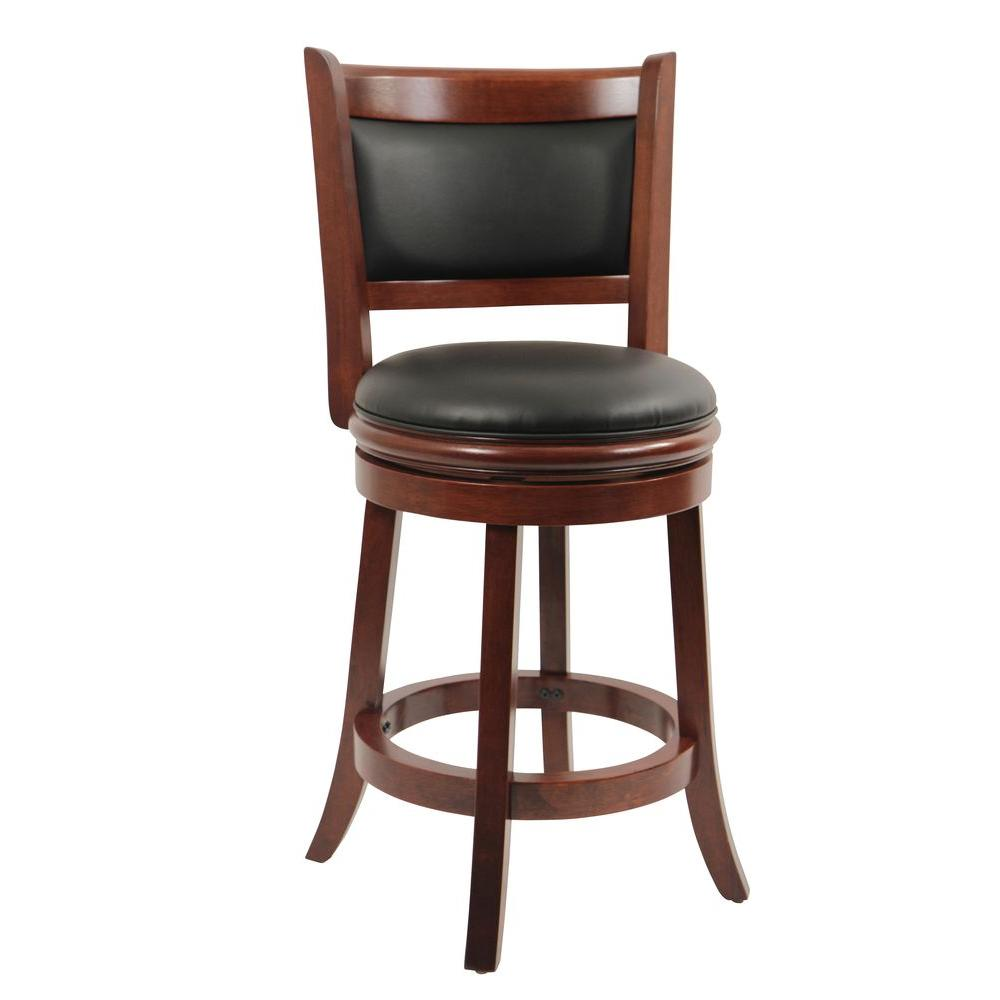 Boraam Augusta 24 In Cherry Swivel Cushioned Bar Stool 49824 The