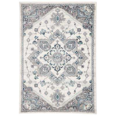 Valen White 4 ft. 3 in. x 6 ft. 1 in. Medallion Rectangle Rug