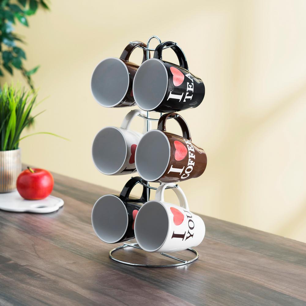 6-Piece 11 oz. . Mug Set with Stand