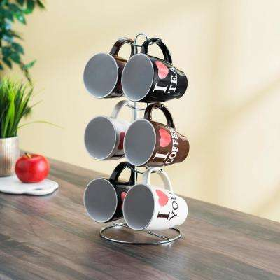 6-Piece 11 oz. . Mug Set with Stand
