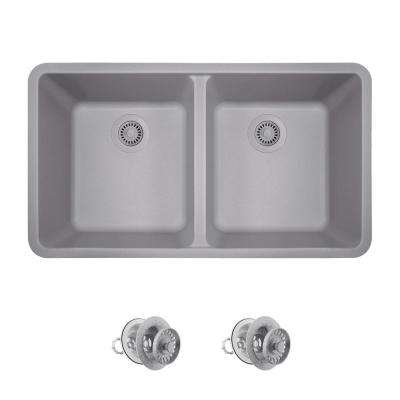 All-in-One Undermount Granite Composite 33 in. Double Bowl Kitchen Sink in Silver