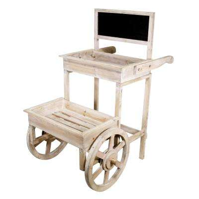 Alpine Corporation Wooden Indoor and Outdoor 2-Tiered Plant Display Stand with Chalkboard and Wheels