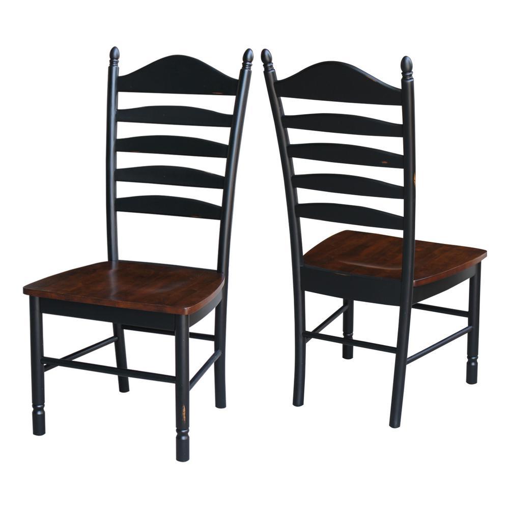 Hampton Aged Ebony & Espresso Wood Ladder Back Dining Chair (Set of 2)