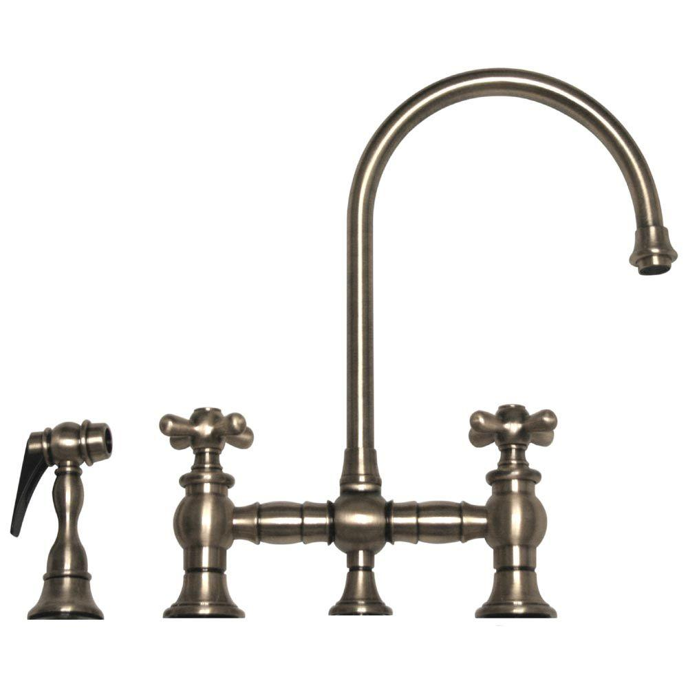 Whitehaus Collection Vintage III 2-Handle Bar Faucet with Side Sprayer in Brushed Nickel