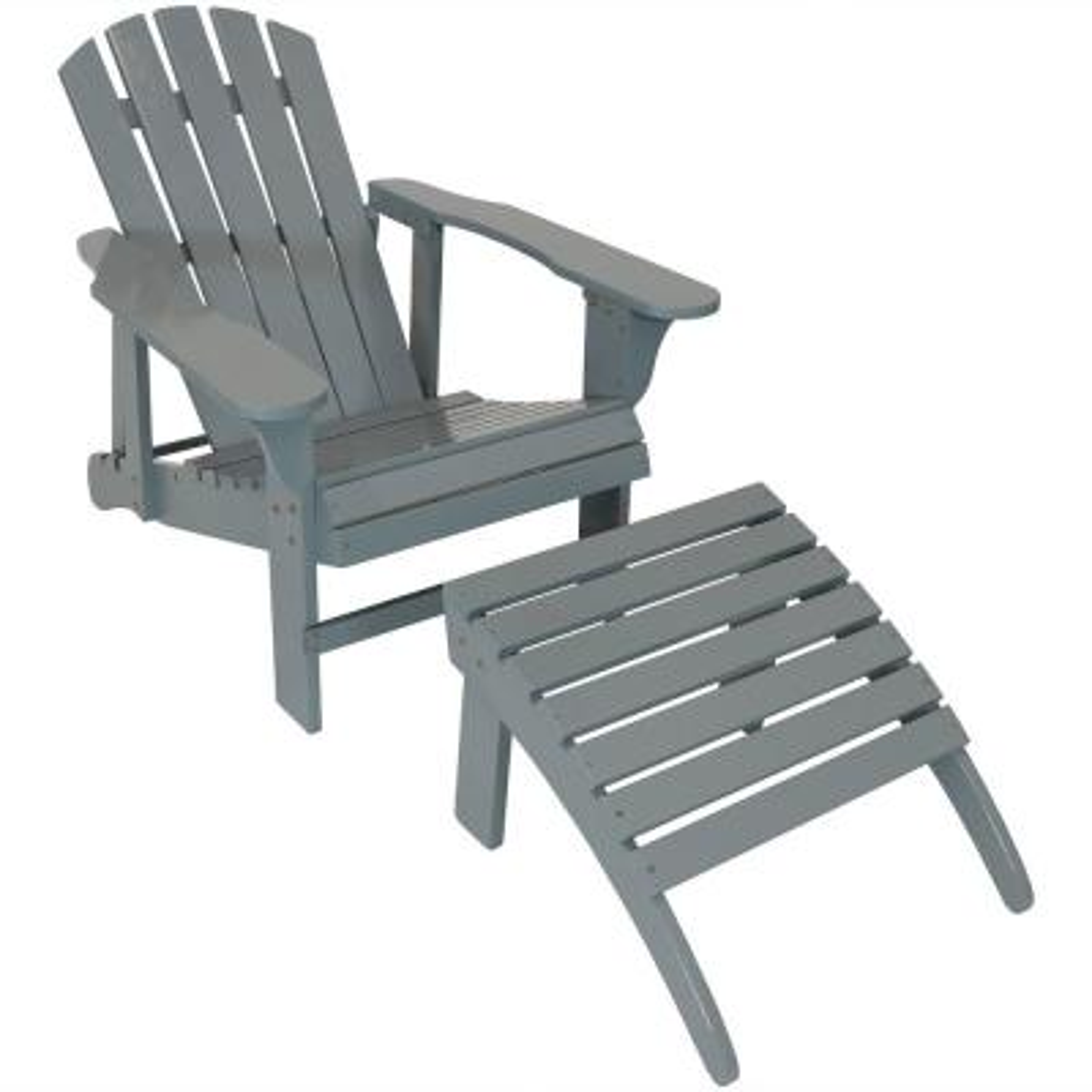 Gray Wood Adirondack Chair with Adjustable Back and Ottoman