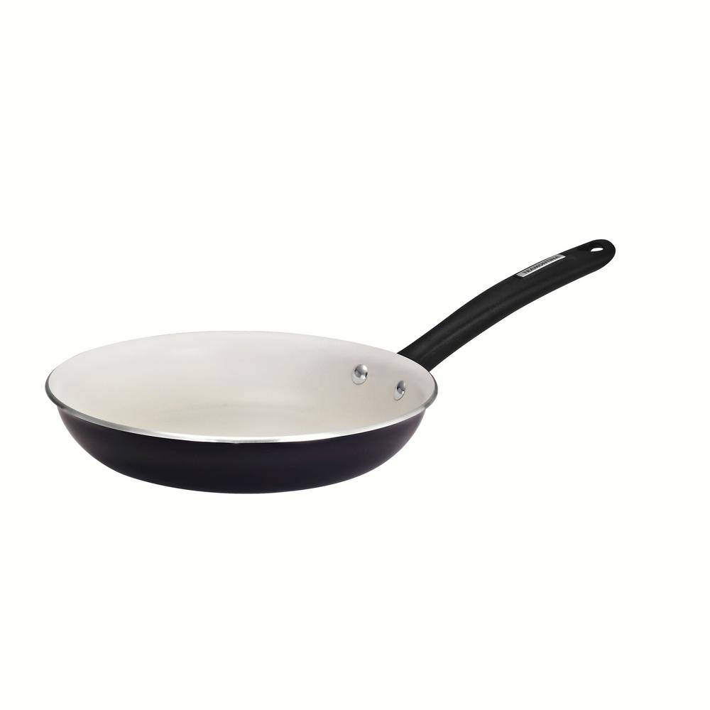 Gourmet 10 in. Ivory White Nonstick Aluminum Fry Pan in Black