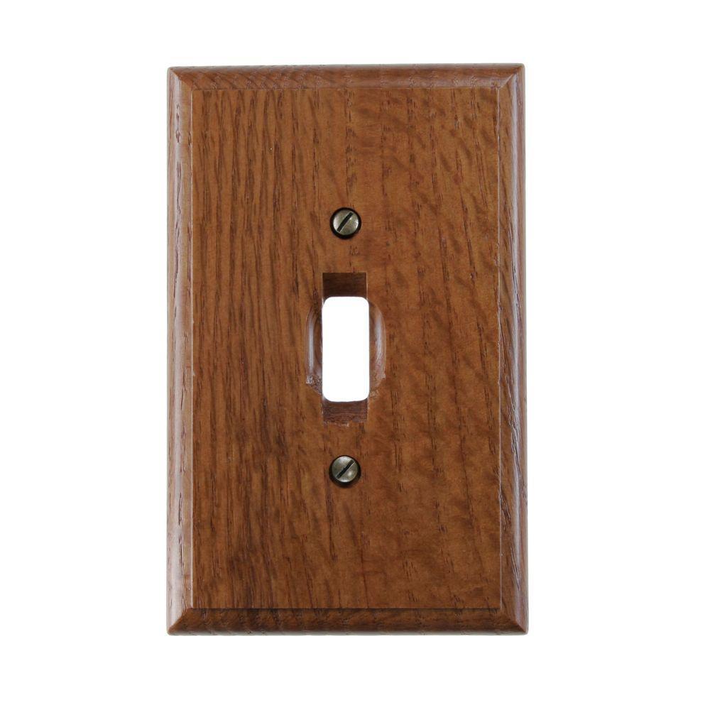 1 Toggle Wall Plate - Red Oak