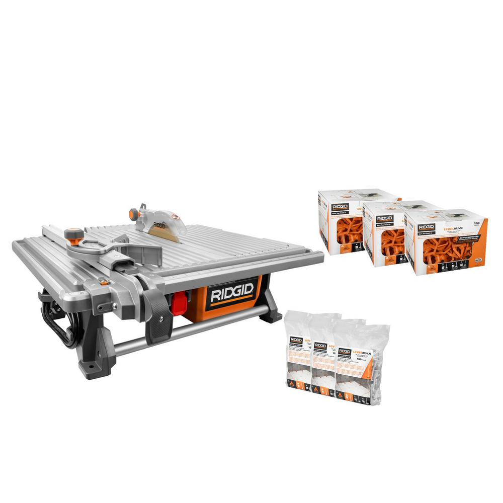 RIDGID 6.5 Amp Corded 7 in. Table Top Wet Tile Saw with LevelMax Anti-Lippage and Spacing System (3) Flat Stem and (3) Top Only
