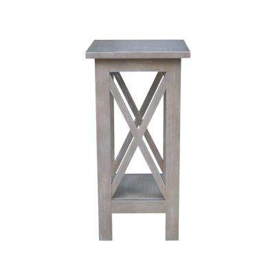 Weathered 24 in. H Gray X-Sided Plant Stand