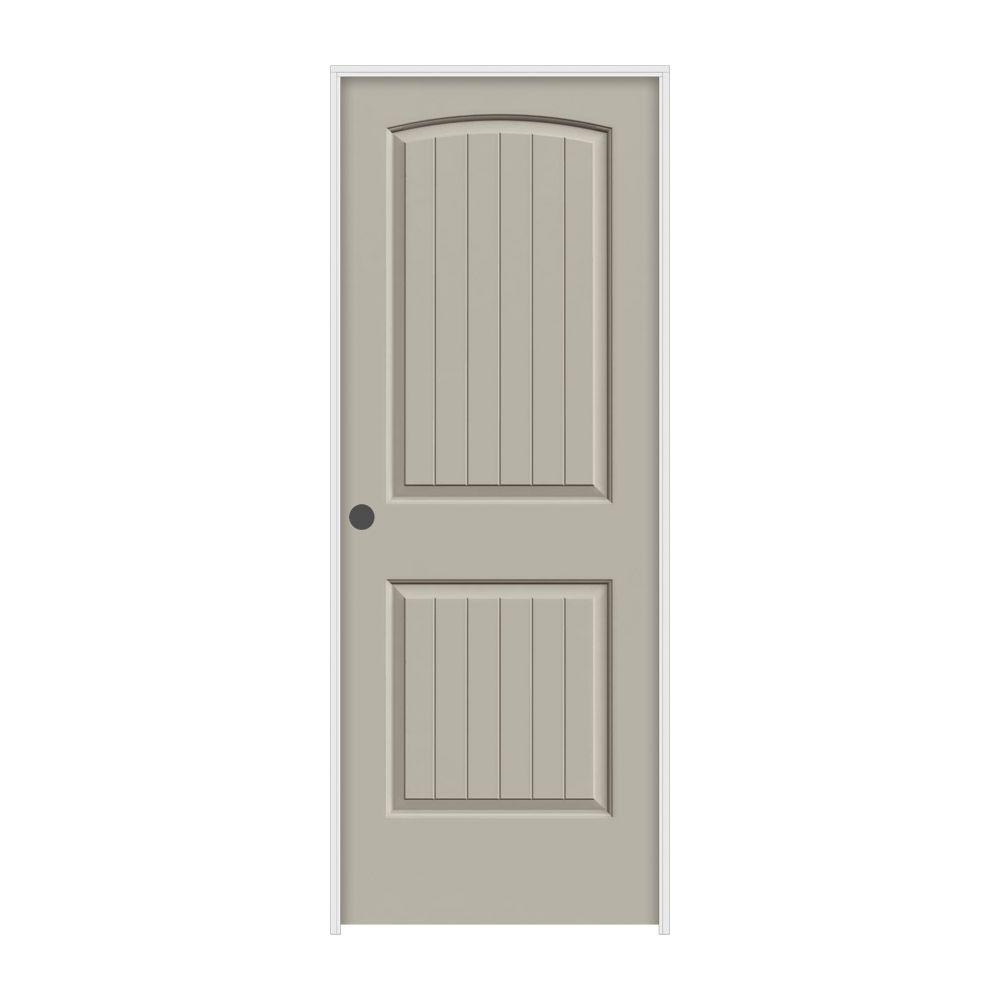 JELD-WEN 32 in. x 80 in. Santa Fe Desert Sand Painted Right-Hand Smooth Molded Composite MDF Single Prehung Interior Door