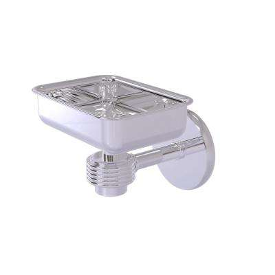 Satellite Orbit One Wall Mounted Soap Dish with Groovy Accents in Polished Chrome