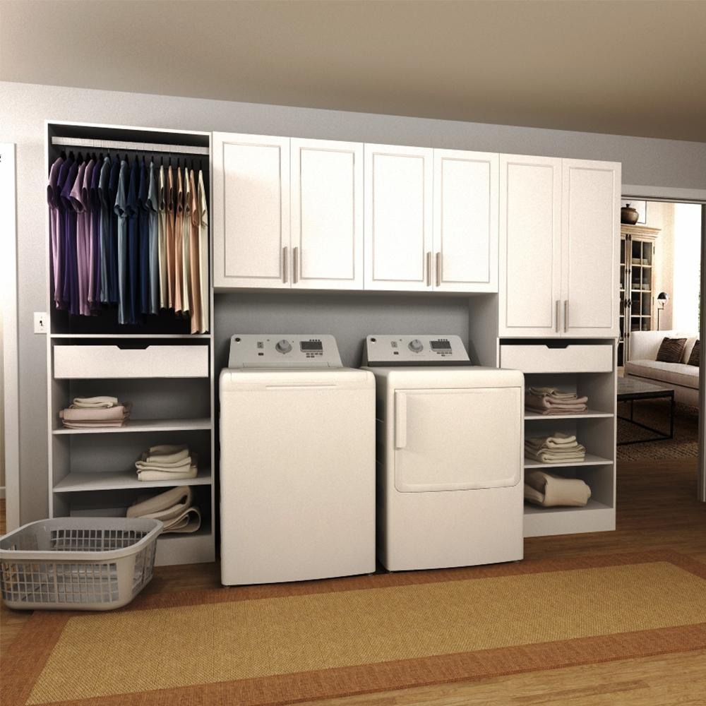 modifi madison 120 in w white tower storage laundry cabinet kit enl120a mpw the home depot. Black Bedroom Furniture Sets. Home Design Ideas