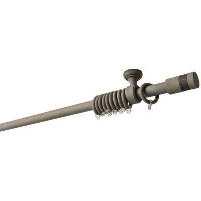 95 in. Intensions Curtain Rod Kit in Smoke with Wood-Fabric Finials with Ceiling Brackets and Rings