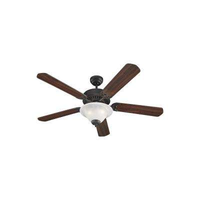 Quality Pro Deluxe 52 in. LED Roman Bronze Ceiling Fan with Light Kit and Dual Finished Blades