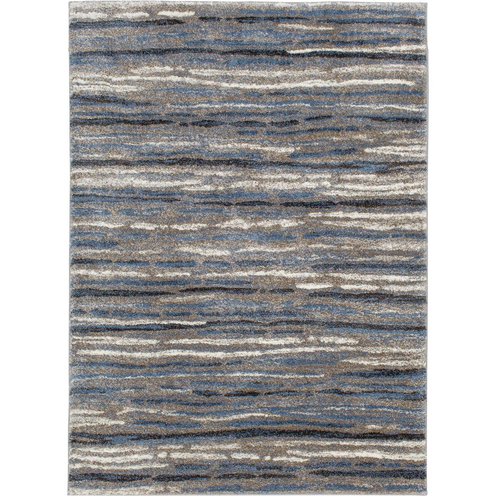Shoreline Blue/Multi 8 ft. x 10 ft. Striped Area Rug