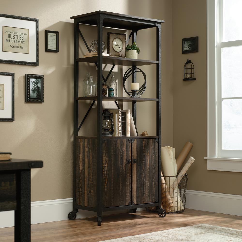 69.8 in. Carbon Oak Metal 5-shelf Cart Bookcase with Doors