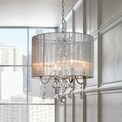St. Lorynne 4-Light Polished Nickel Pendant with Silver String Shade
