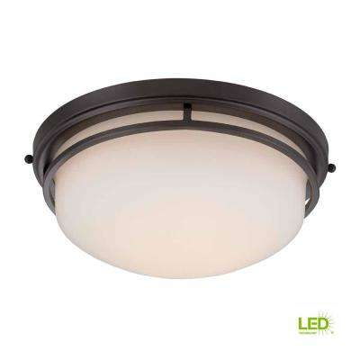 13.25 in. Oil Rubbed Bronze LED Flush Mount with Frosted Glass