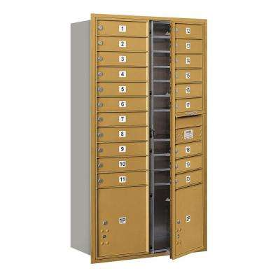 56-3/4 in. Max Height Unit Gold Private Front Loading 4C Horizontal Mailbox with 20 MB1 Doors/2 PL's