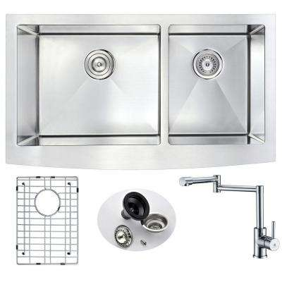 ELYSIAN Farmhouse Stainless Steel 33 in. Double Bowl Kitchen Sink and Faucet Set with Manis Faucet in Brushed Satin