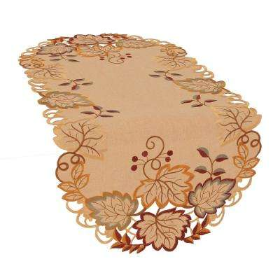 0.1 in. H x 16 in. W x 34 in. D Harvest Verdure Embroidered Cutwork Fall Table Runner