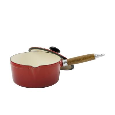 French Enameled 1.3 qt. Cast Iron Sauce Pan in Red with Lid