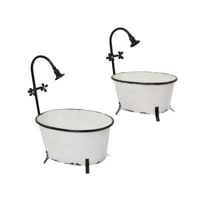 16.1 in. x 20.3 in. White Metal Bathtub Planters (2-Set)