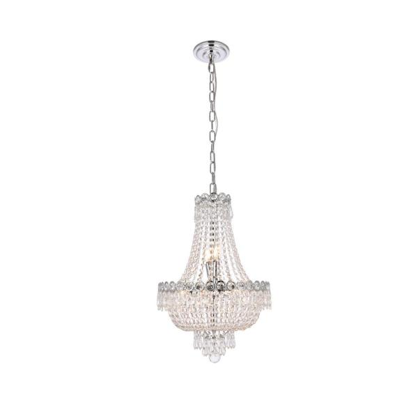 Timeless Home 16 in. L x 16 in. W x 22 in. H 8-Light Chrome with Clear Crystal Contemporary Pendant