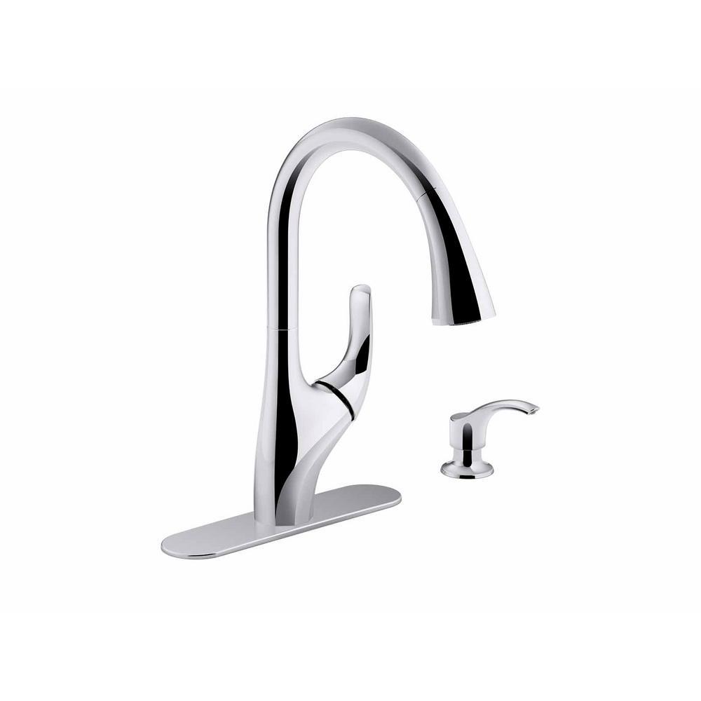 KOHLER Trielle Single-Handle Pull-Down Sprayer Kitchen Faucet in Chrome