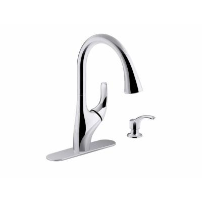 Trielle Single-Handle Pull-Down Sprayer Kitchen Faucet in Chrome