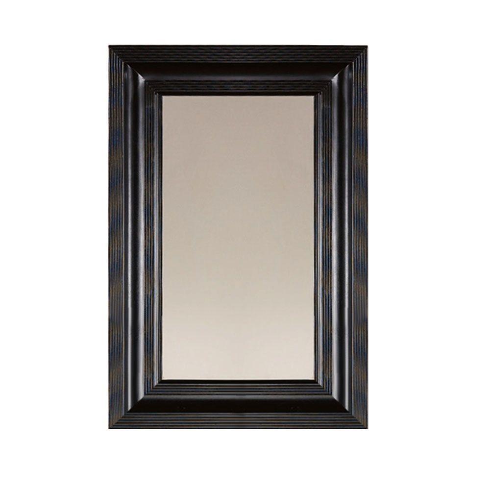 Martha Stewart Living 26 in. x 36 in. Larsson Carbon Black Framed Mirror