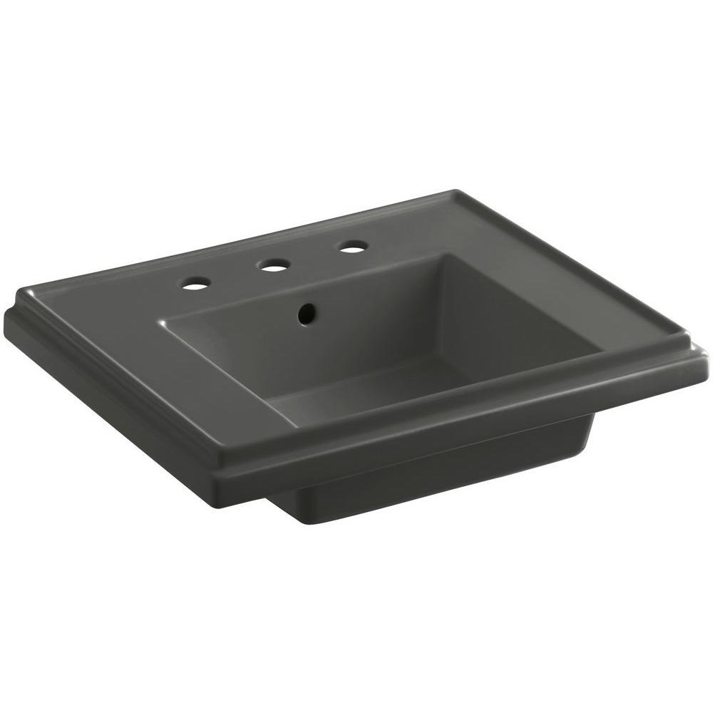Tresham 24 in. Pedestal Sink Basin in Thunder Grey
