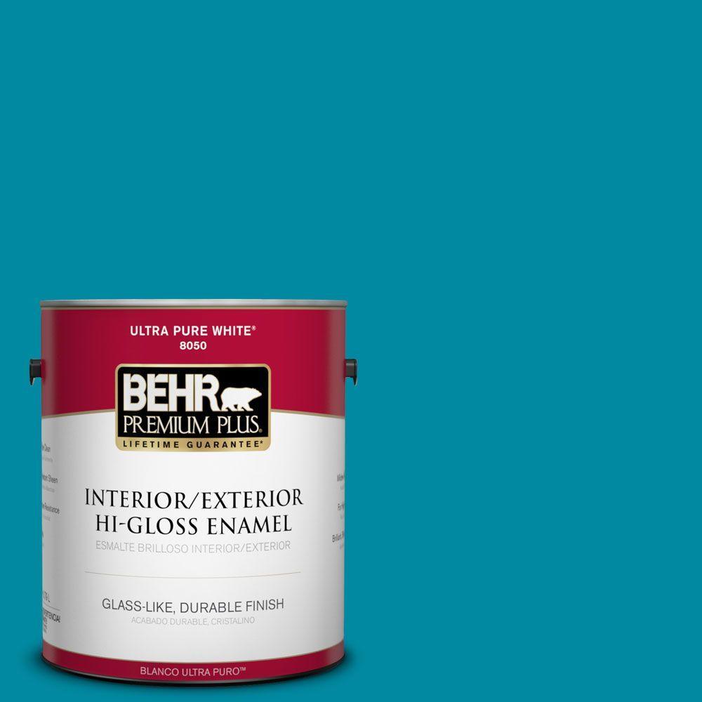 BEHR Premium Plus 1-gal. #P480-6 Aruba Blue Hi-Gloss Enamel Interior/Exterior Paint