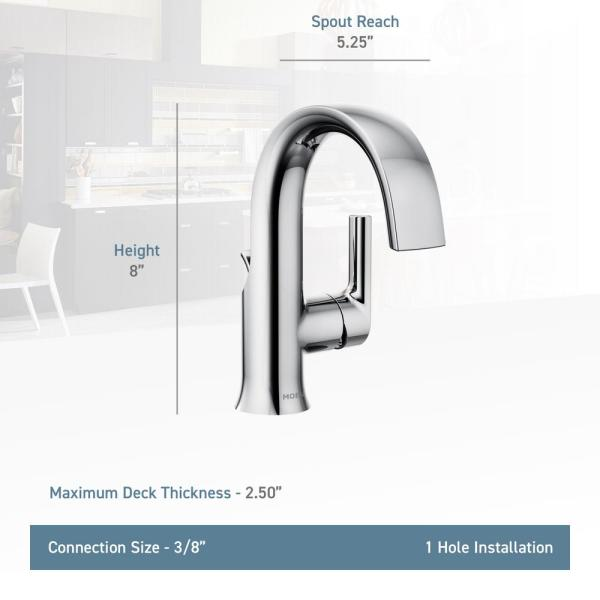 Moen Doux Single Hole Single Handle Bathroom Faucet In Chrome S6910 The Home Depot