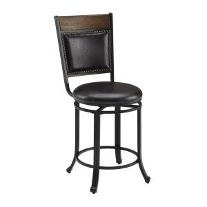 Franklin Rustic Umber with Brown Faux Leather Upholstery 24 in. Counter Stool with Swivel