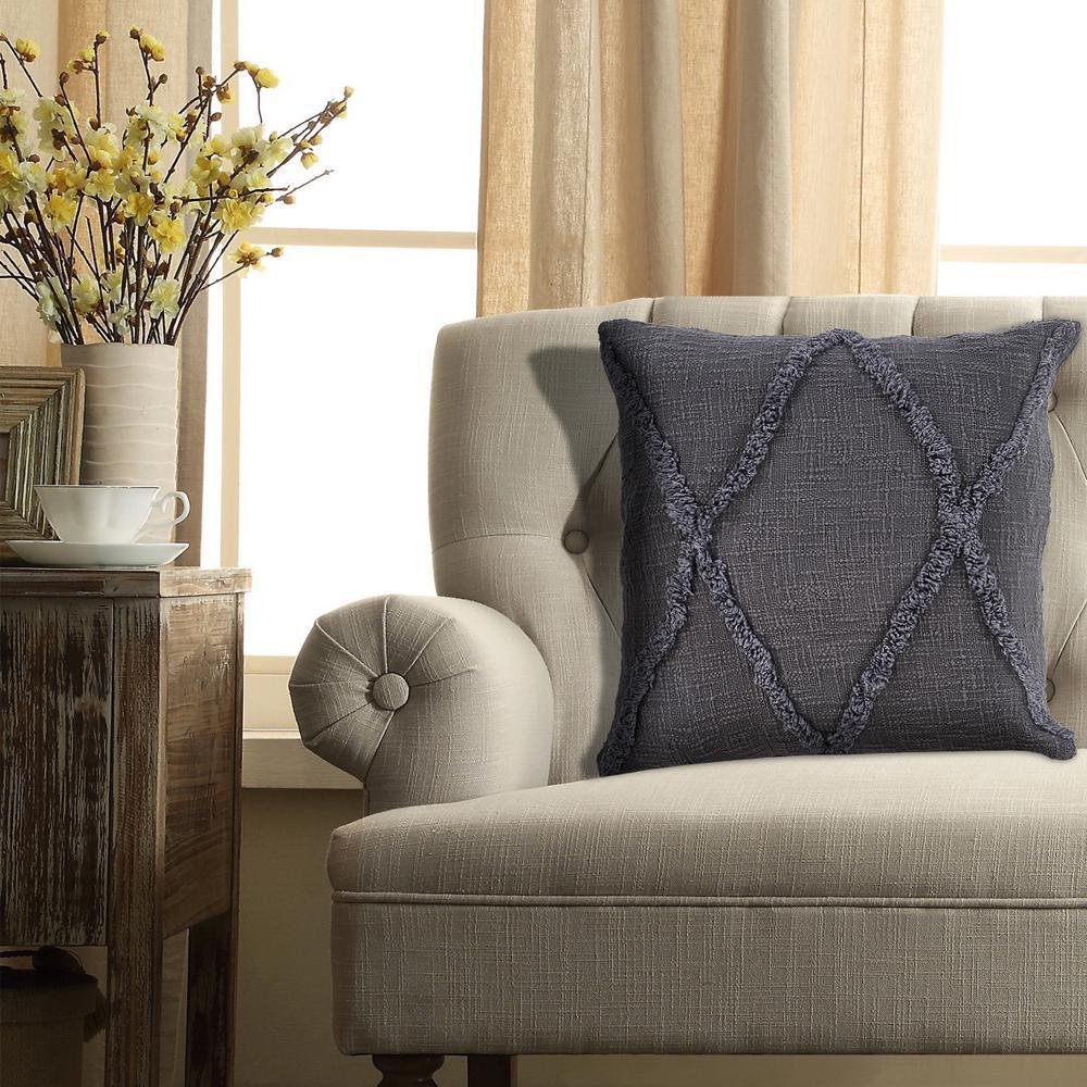 Carlton Dark Grey Solid Hypoallergenic Polyester 20 in. x 20 in. Throw Pillow