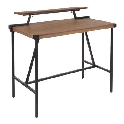 Gia Industrial Counter Height Dining Table with Removable Shelf in Black Metal and Brown Wood