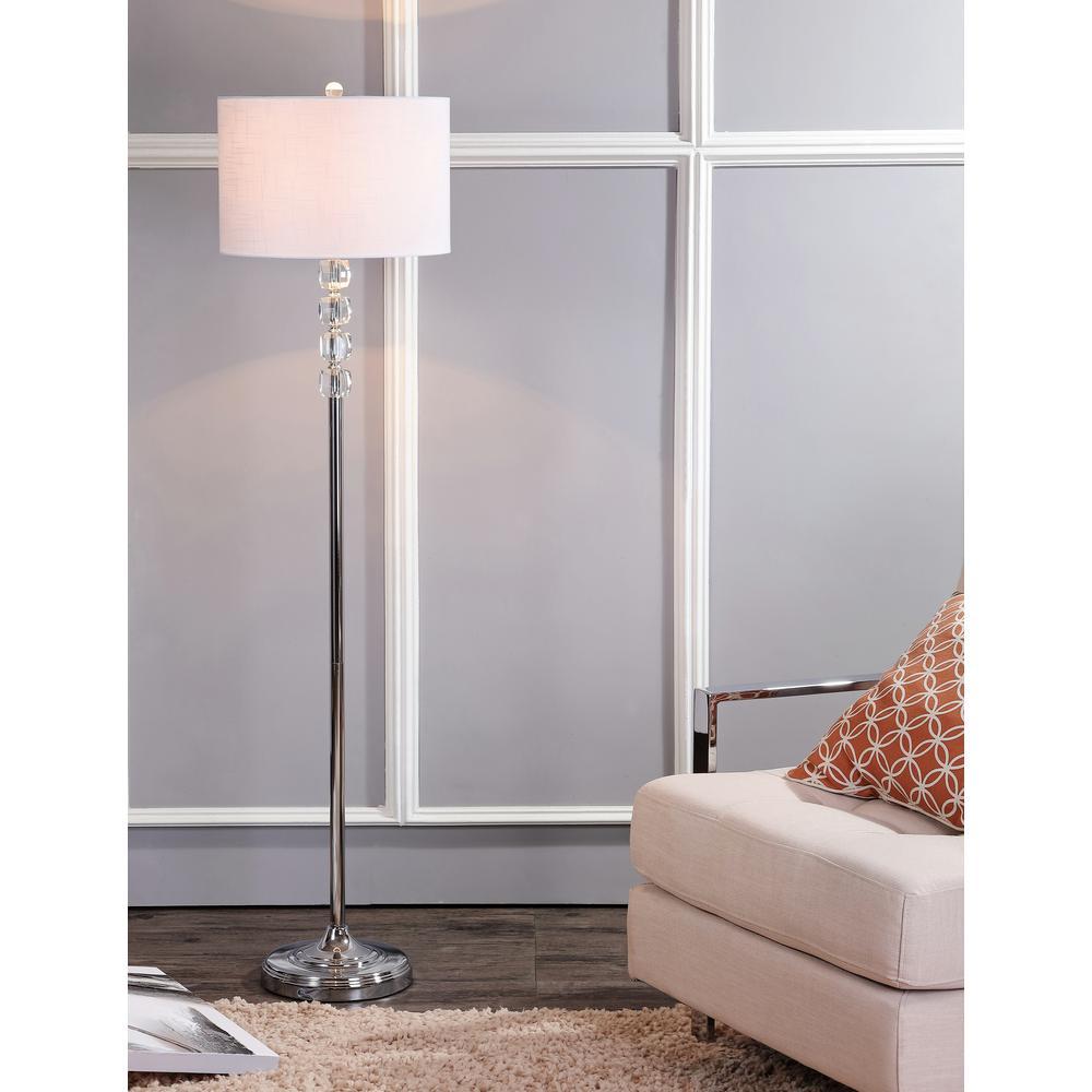 Aubrey 59.5 in. Clear/Chrome Crystal/Metal Floor Lamp