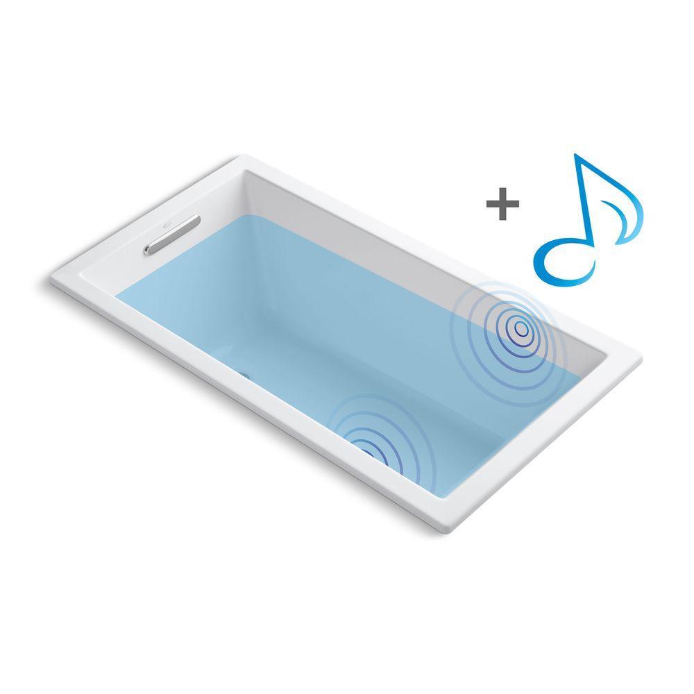 KOHLER Underscore 5 ft. Acrylic Rectangular Drop-in Non-Whirlpool Bathtub in White with Wireless Music Kit