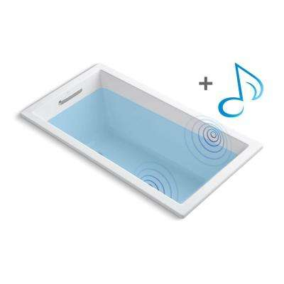 Underscore 5 ft. Acrylic Rectangular Drop-in Non-Whirlpool Bathtub in White with Wireless Music Kit