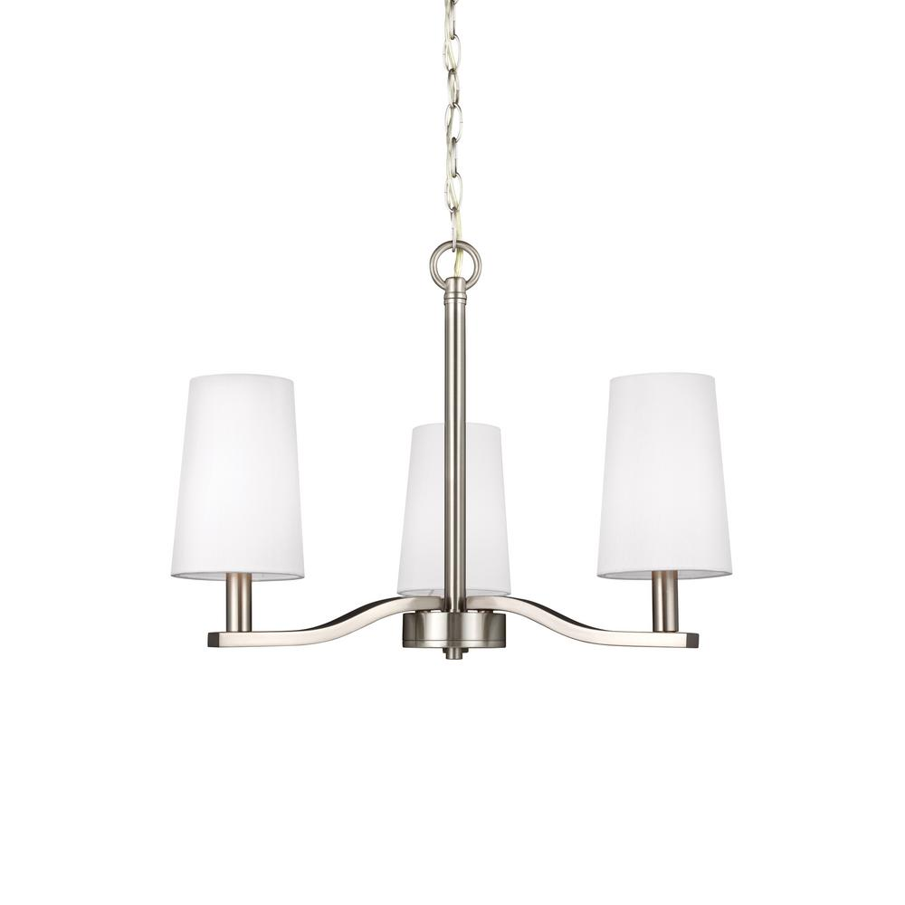 3 Light Led Ceiling Pendant Brushed Nickel Contemporary: Sea Gull Lighting Nance 3-Light Brushed Nickel Chandelier